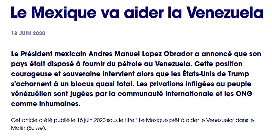 Le Mexique va aider la Venezuela